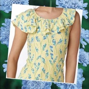 Lilly Pulitzer Wynne ruffle top yellow blue Med